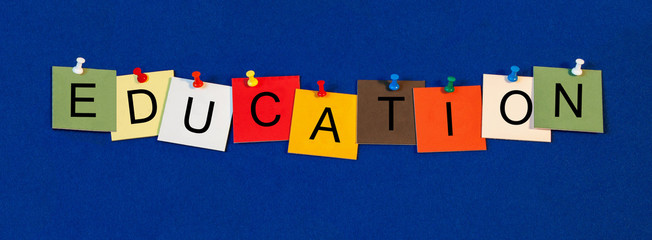 Education, sign for teaching, schools and classrooms.