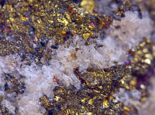 Tuinposter Edelsteen Gold metal .Macro