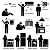 Home House Basic Electronic Appliances Cliparts poster