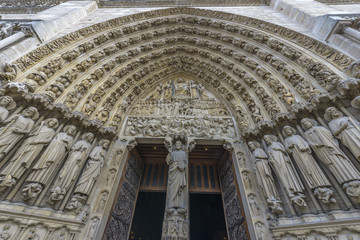 Architectural Detail of Notre-dame de paris entrance