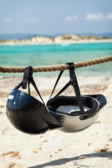 Helmets on the beach. Trucadors beach, Formentera island.