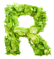 r letter made with lettuce