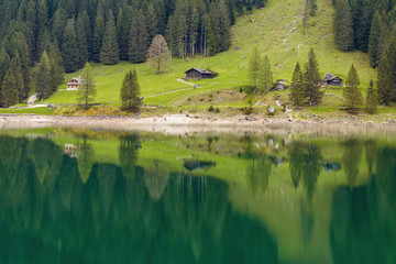 Alpine mountain house in the forest reflected in water. Austria