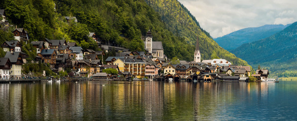 Beautiful mountain landscape of Hallstatt village. Austria