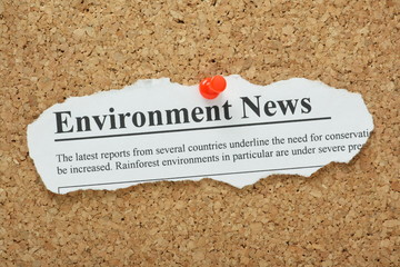 Environment News Headline pinned to a cork notice board