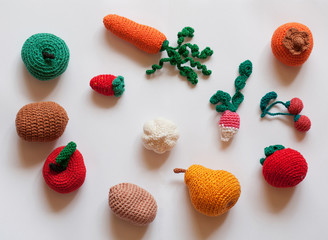 hand-made knitted fruit and vegetables