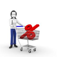 Frau Einkaufen Prozent kl