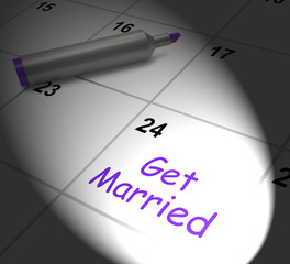 Get Married Calendar Displays Wedding Day And Vows