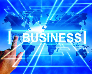 Business Map Displays Worldwide Commerce or Internet Company