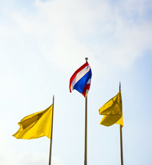 flag of the king of Thailand and the thai national flag in front