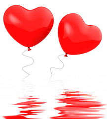 Heart Balloons Displays Togetherness Affection And Attraction