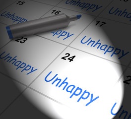 Unhappy Calendar Displays Problems Stress Or Sadness