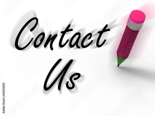 Contact Us Sign with Pencil Displays Customer Care