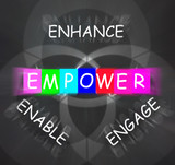 Encouragement Words Displays Empower Enhance Engage and Enable poster