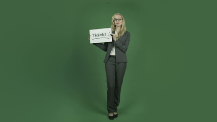 caucasian businesswoman isolated on chroma green screen