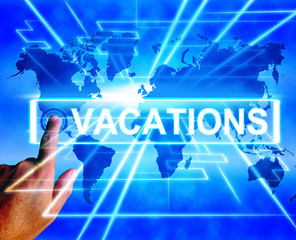 Vacations Map Displays Online Planning or Worldwide Vacation Tra
