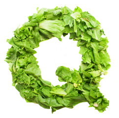 q lettuce letter on a white background