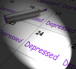 Depressed Calendar Displays Discouraged Despondent Or Mentally I