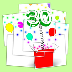 Number Thirty Surprise Box Displays Sparks And Balloons Explosio