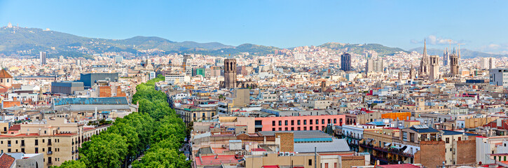 Aerial view of La Rambla and the skyline of Barcelona Panorama