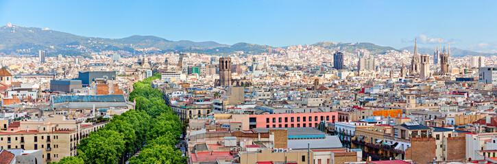 Aerial view of La Rambla and the skyline of Barcelona Panorama