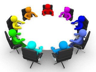 3d person of different colors at the conference table