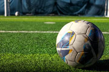 Soccer in the bright soccer field