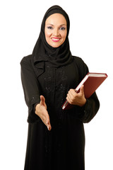 Arabic woman, traditional dressed smiling