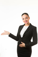 Black hair business dressed woman holding hands up