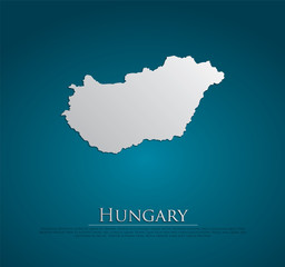 vector Hungary Map card paper