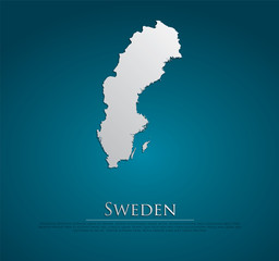 vector Sweden Map card paper