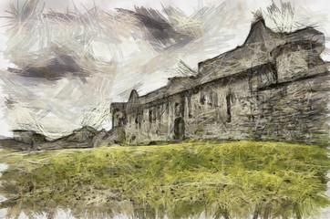 Craigmillar Castle Pencil Drawing