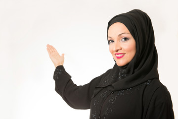 Arabic woman, traditional dressed, isolated on the white