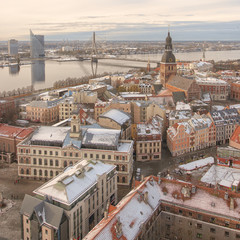 Riga Panorama of Old Town Cathedral