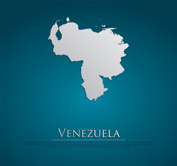 Venezuela map card paper 3D natura