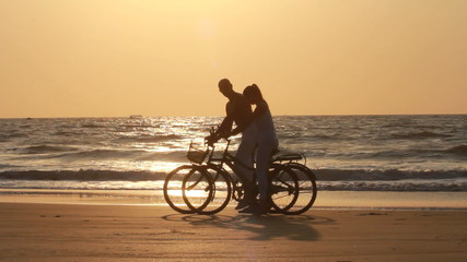 couple while riding bicycles