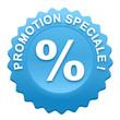 promotion spéciale sur bouton web denté bleu