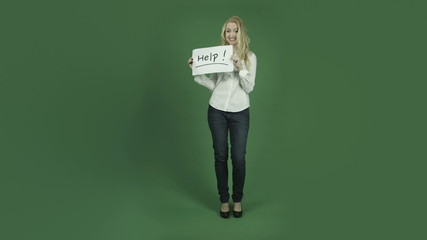 caucasian woman isolated on chroma green screen background with