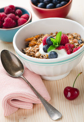 Bowl of muesli with fresh berries
