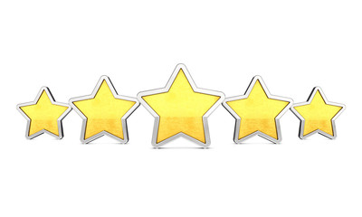 Five golden rating stars on white , Product quality