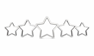Five outlined rating stars on white , Product quality