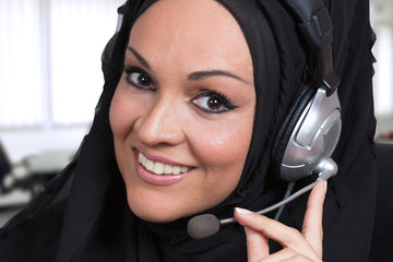 Arabic business woman working as a customer service