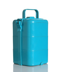 light blue lunch box on white background