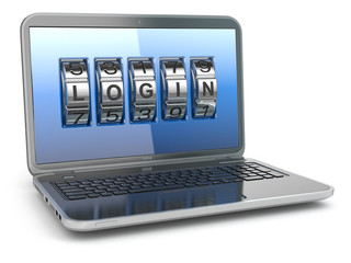 Computer or internet security concept. Laptop with code login.
