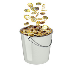 Bucket full of golden coins - isolated on white
