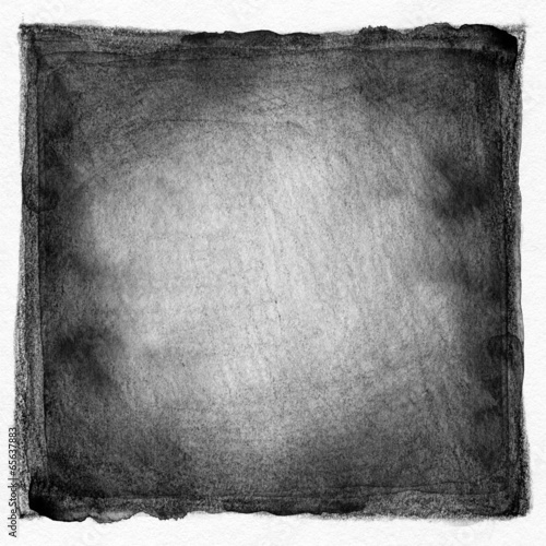 Abstract black and white watercolor painted background. Paper te - 65637883