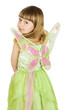 pretty little girl in fairy costume on white background