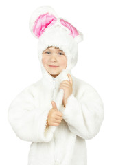 pretty little girl in bunny costume on white background