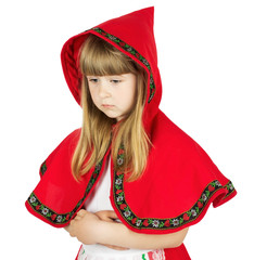 praying little girl in red hood costume on the white background