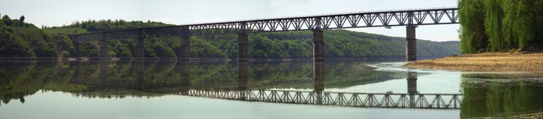 long panoramic bridge over the river